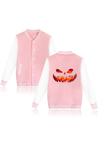Guys Stylish Cool Halloween Fire Pumpkin Printed Stand Collar Long Sleeve Casual Baseball Jacket