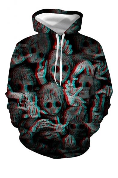 Halloween Black Horror Ghost 3D Printed Long Sleeve Pullover Drawstring Hoodie