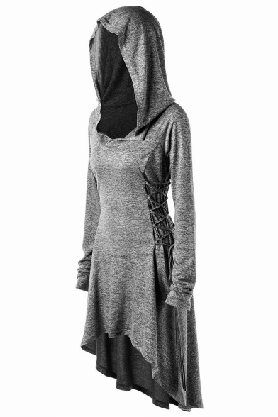 Halloween Series Plain Lace Up Long Sleeve Dip Hem Hoodie Tunic Cape Cosplay Costume