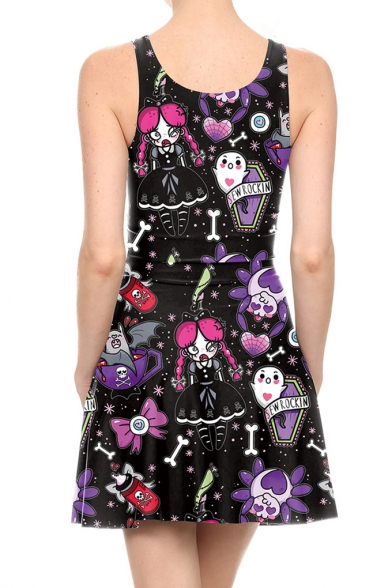 Halloween Trendy Cartoon Spider Printed Scoop Neck Sleeveless Mini Black Tank Dress