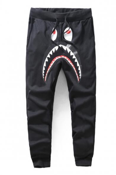 Hot Cartoon Shark Camouflage Letter Printed Drawstring Waist Casual Joggers Sweatpants