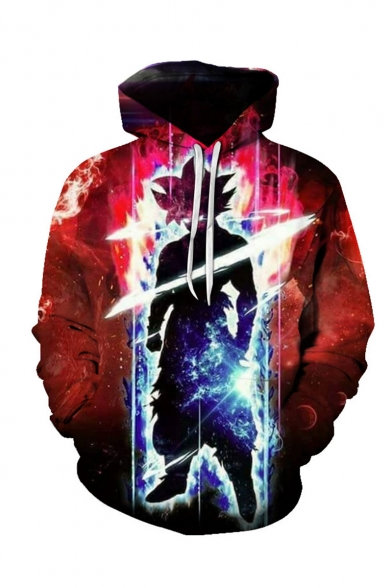 Hot Fashion Cool 3D Comic Character Printed Long Sleeve Loose Fit Red Drawstring Hoodie