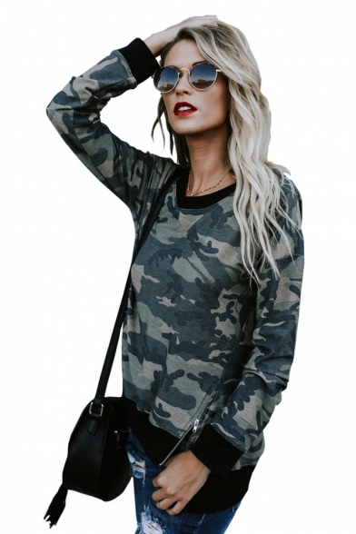 Hot Fashion Round Neck Long Sleeve Color Block Camouflage Printed Pullover Sweatshirt