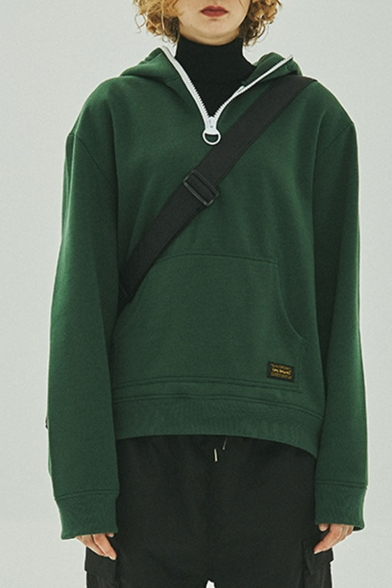 Hot Fashion Simple Plain Long Sleeve Pocket Casual Pullover Hoodie For Men