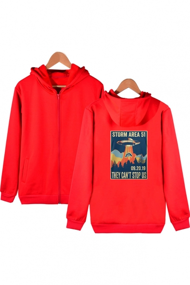 Hot Fashion Storm Area Printed Long Sleeve Zip Front Slim Fit Hoodie