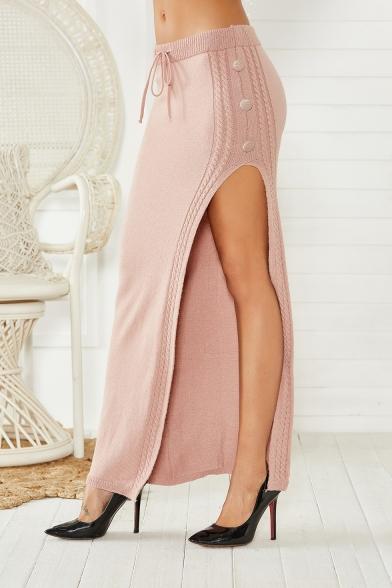 Hot Popular Plain High Waist Self Tie Split Side Slim Fitted Maxi Knitted Skirt