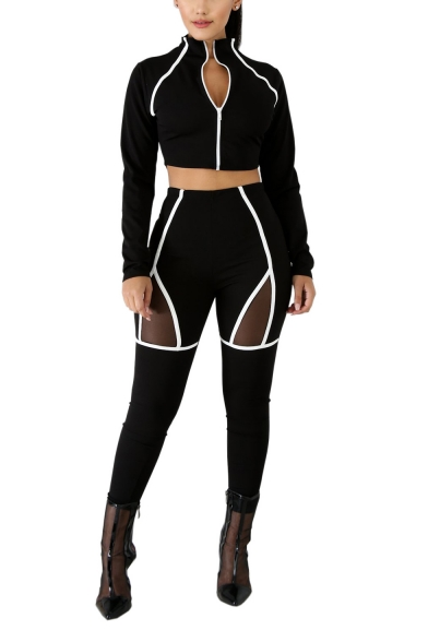 Hot Stylish Long Sleeve Zip Front with High Wait Pants Contrast Trim Mesh Patch Fitted Black Co-ords