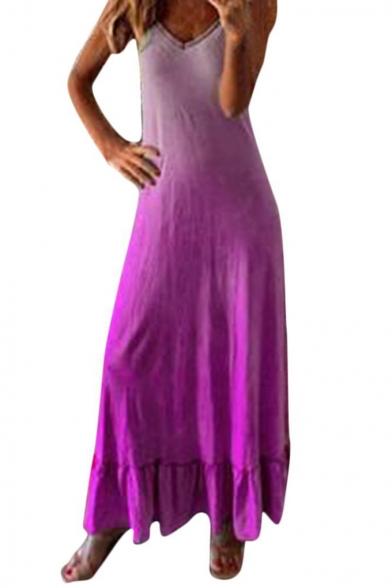 Hot Trendy Ombre Color V-Neck Sleeveless Maxi Ruffled Tank Dress