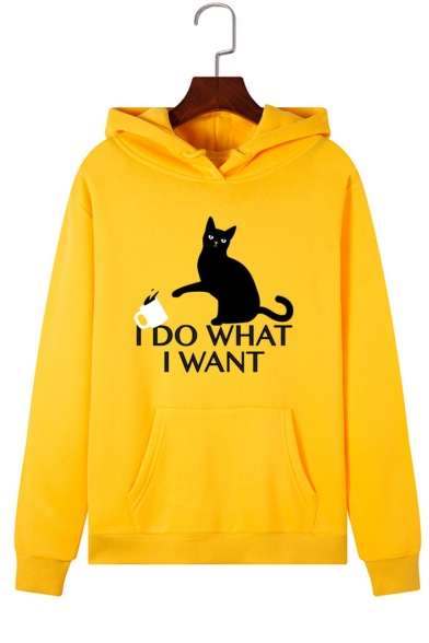 I DO WHAT I WANT Letter Cat Printed Long Sleeve Pocket Pullover Hoodie