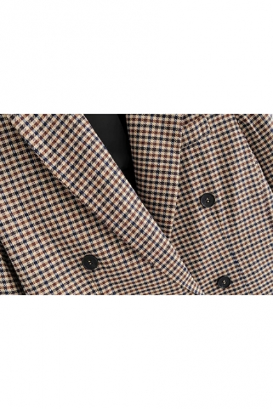 Khaki Plaid Double-Breasted Regular Fit Pockets Front Blazer Coat