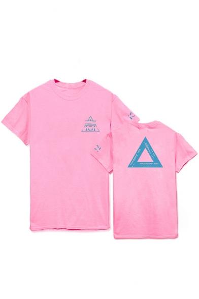 Kpop Boy Band Fashion Triangle Letter Print Short Sleeve Summer Unisex Tee