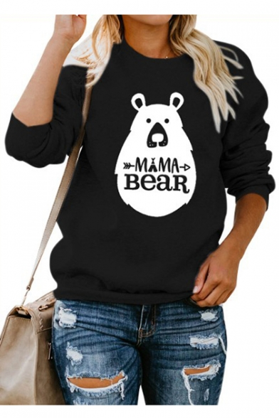 MAMA BEAR Letter Cartoon Bear Print Round Neck Long Sleeve Sweatshirt
