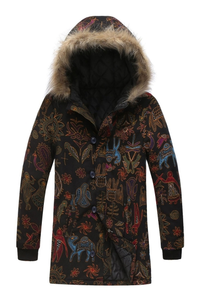 Men's Hot Stylish Unique Tribal Print Single Breasted Long Sleeve Hood Concealed Longline Black Padded Coat