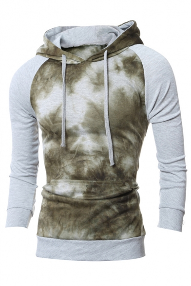 Men's Popular Fashion Colorblock Ombre Color Patched Drawstring Hooded Long Sleeve Slim Fit Casual Sports Hoodie