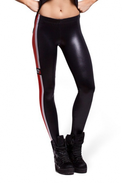 N7 Letter Stripe Side Black Milk Silk Athletic Fitness Yoga Leggings