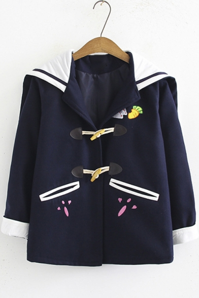Navy Collar Embroidered Rabbit Ear Hooded Wool Duffle Coat for Students