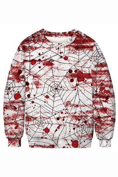 New Arrival Halloween Spider Web Blood 3D Printed White and Red Long Sleeve Round Neck Sweatshirts