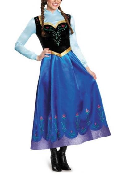 New Stand Collar Long Sleeve Princess Elsa Dress Cosplay Floral Print A-Line Maxi Dress