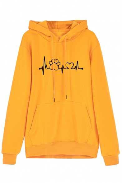 New Stylish Funny Cardiogram Love Heart And Claw Printed Long Sleeve Hoodie With Pocket