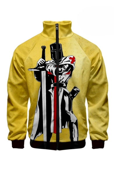 New Stylish knights Templar Pattern Stand Collar Long Sleeve Yellow Baseball Jacket