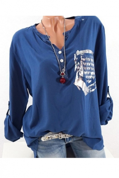 New Stylish Long Sleeve V-Neck Button Front Heart Pocket Leisure Shirt