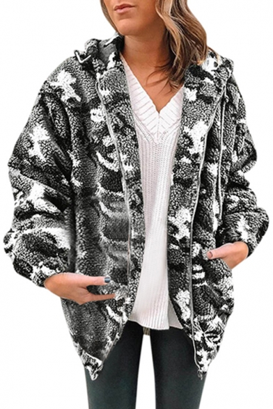 New Trendy Leisure Camouflage Pattern Zip Up Long Sleeve Loose Hooded Shearling Coat