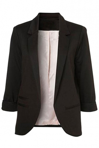 Office Lady Fancy Solid Color Notched Lapel Collar Three-Quarter Sleeve Commute Slim Blazer Coat