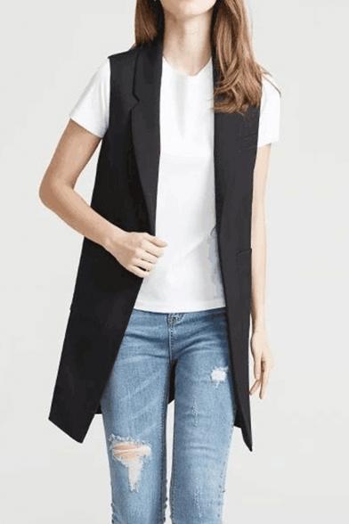 Officer Women Lapel Lapel Single Button Black Long Blazer Vest with Pockets