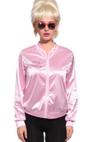 Pink Ladies Simple Letter Printed Stand Collar Long Sleeve Zip Up Baseball Jacket