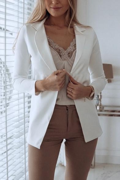 Plain Lapel Collar Long Sleeve Open Front Tailored Blazer, LM557180, Black;pink;white;khaki;navy