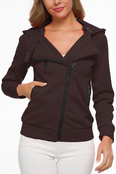 Plain Long Sleeve Notched Lapel Zipper Perforated Warming Hooded Coat