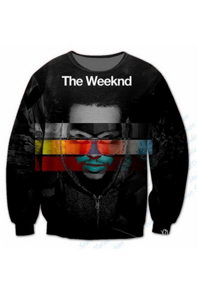 Popular Rapper Figure Letter THE WEEKND Printed Black Round Neck Long Sleeve Pullover Sweatshirts