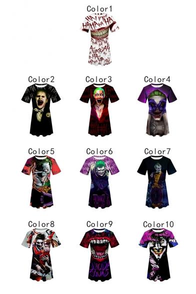 Popular Round Neck Short Sleeve 3D Cartoon Clown Joker Printed Mini A-Line Dress