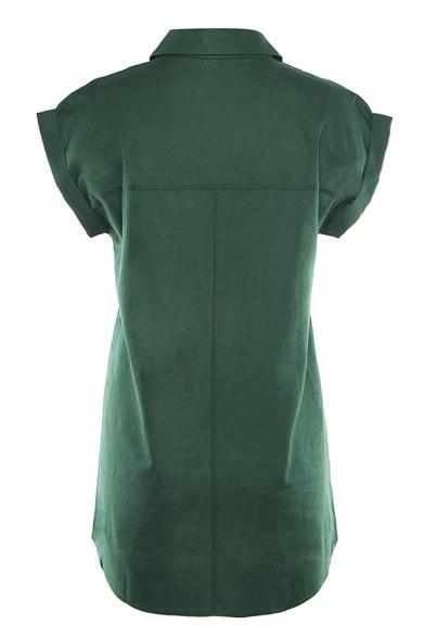 Simple Plain Short Sleeve Lapel Collar Pocket Embellished Button Front Womens Cotton Linen Shirt Blouse