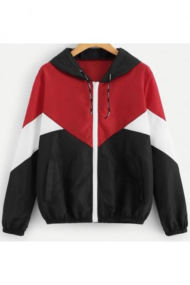 Простой Мода Женщины С Цветными Блоками Застегивать Капюшоном Спортивные Куртки Пальто