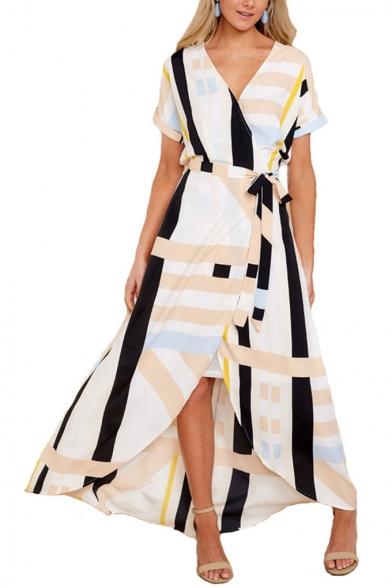 Stylish Yellow Geometric Printed V-Neck Short Sleeve Maxi Wrap Dress