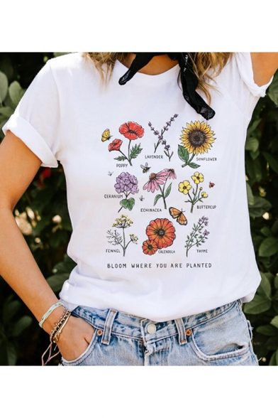 YFancy Women Girl Summer Hot Fashion Popular Casual Short Sleeve Rose Letter Printed O-Neck T-Shirts Top Blouse