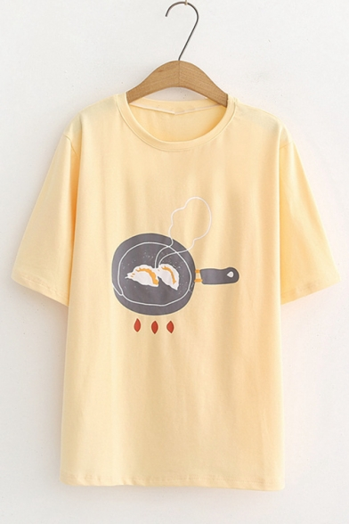 Summer Half Sleeve Round Neck Food Printed Casual Loose Cotton T Shirt