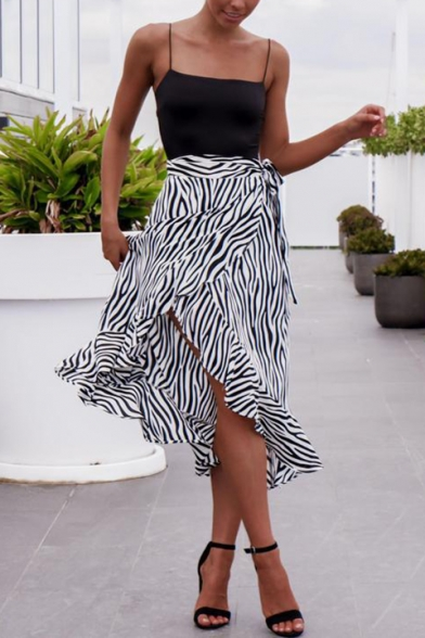 Summer Tie Waist Striped Print Ruffle Hem Holiday Midi Wrap Skirt