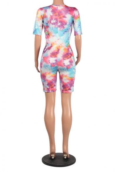 Summer Hot Stylish Plunge V Neck Half Sleeve Tie Dye Skinny Fitted Rompers