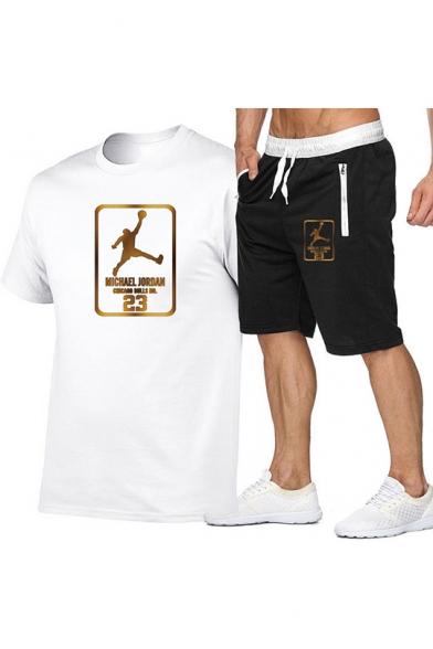 Летние мужские классный баскетболист отпечатано футболка с коротким рукавом и спортивные шорты из двух частей набор