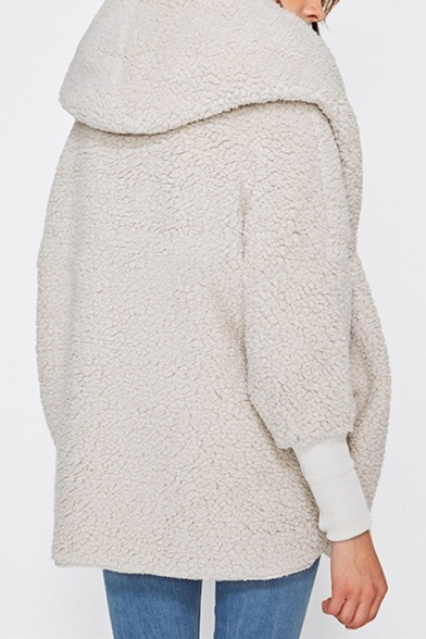 White Elegant Hooded Long Sleeves Faux Fur Longline Coat with One Toggle Button