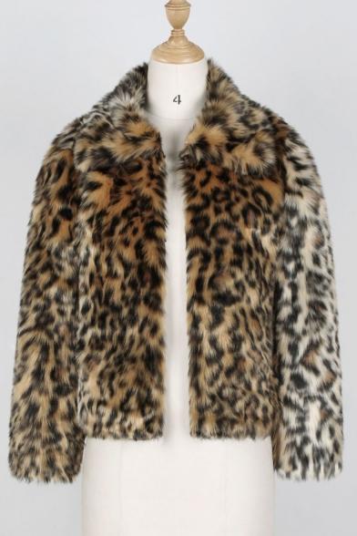 Women's Fashion Lapel Collar Leopard Printed Open Front Solid Faux Fur Outerwear Coat
