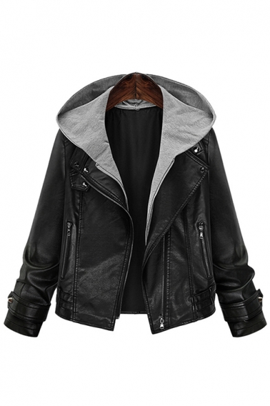 Women's Fashion Simple Contrast Hooded Long Sleeve Leather Jacket