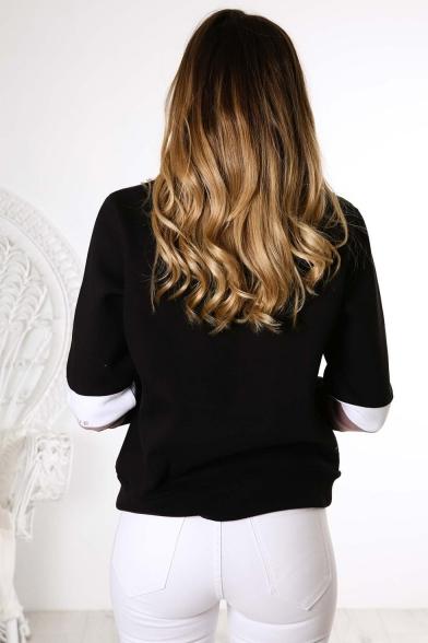 Womens Black Round Neck Long Sleeve Colorblock Pullover Sweatshirt