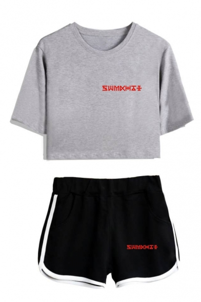 Womens Kpop Boy Group Letter Logo Print Short Sleeve Round Neck Crop Tee with Dolphin Shorts Co-ords