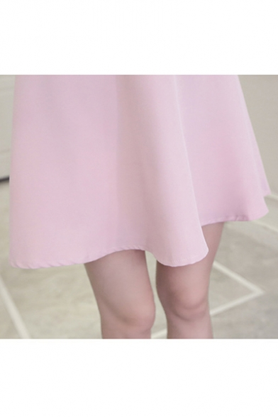 Womens New Fashion Boat Neck Short Sleeve Bow Plain Cami A-Line Mini Dress