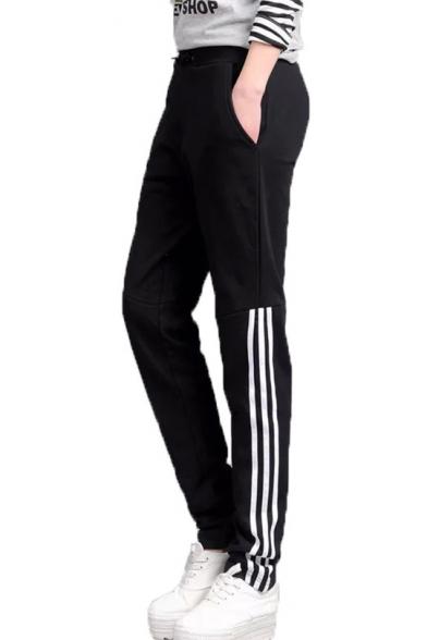 Womens Simple Stripe Side Sport Casual Joggers Sweatpants