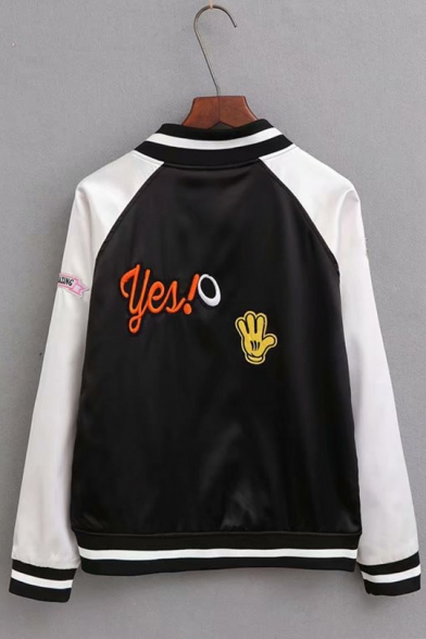 Womens Trendy Cartoon Rainbow Patched Stand Collar Long Sleeve Zip Up Baseball Jacket