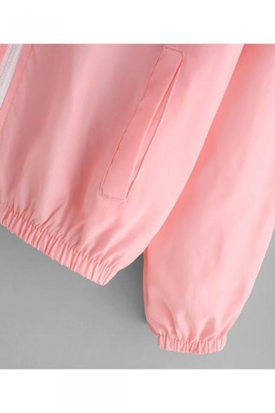 Womens Trendy Solid Color Elastic Hem Long Sleeve Color Block Zip Up Drawstring Hooded Coat